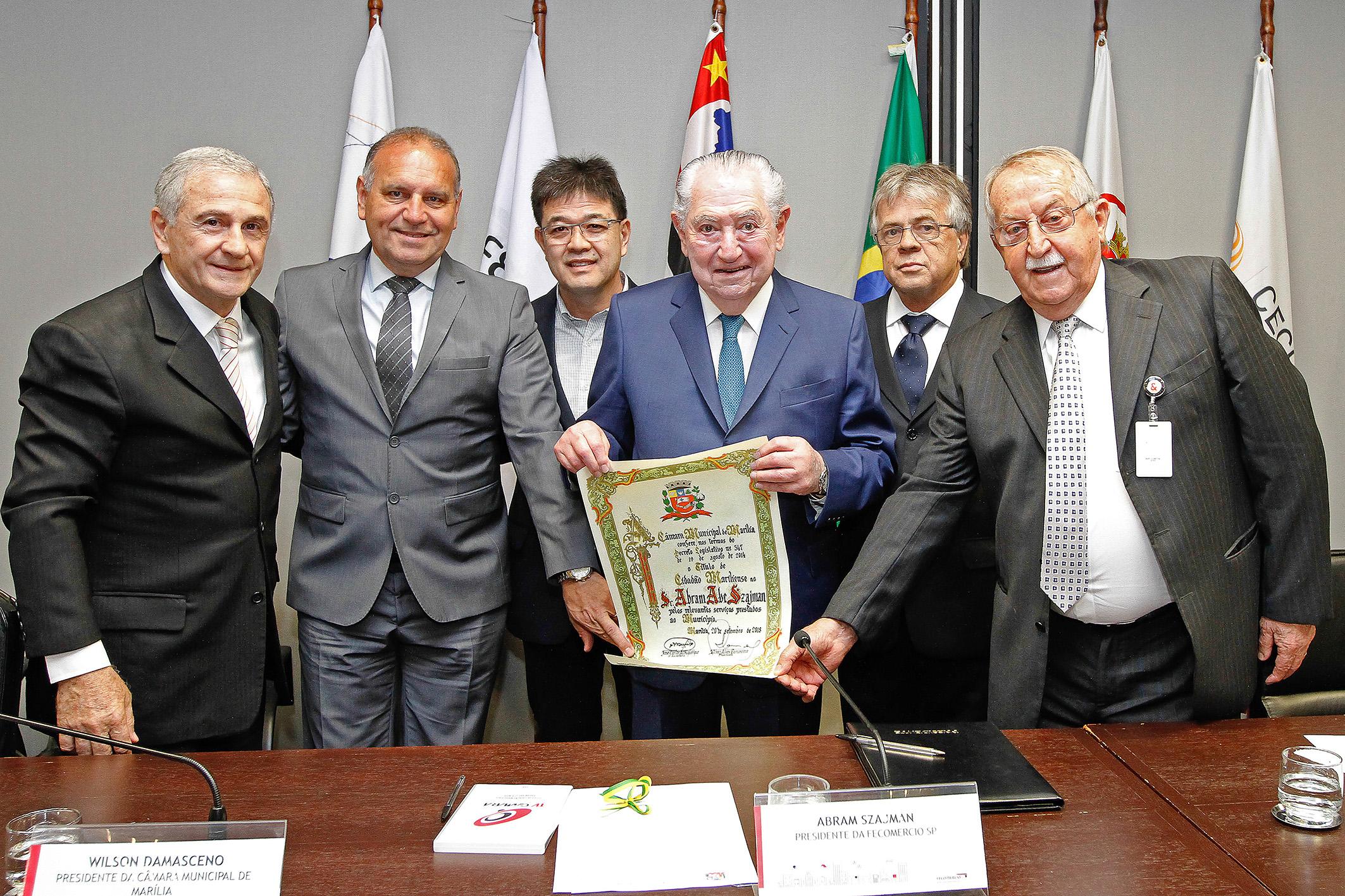 20/09/2018 - Fecomercio - Cerimônia de entrega de título de cidadão Mariliense para o presidente Abram Szajman - São Paulo - SP