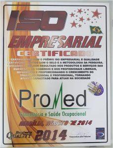 Promed - Certificado Iso Empresarial 2014