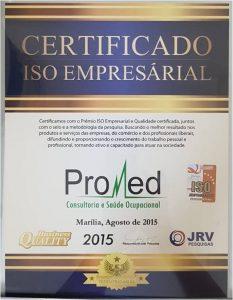 Promed - Certificado Iso Empresarial 2015