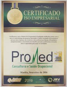 Promed - Certificado Iso Empresarial 2016